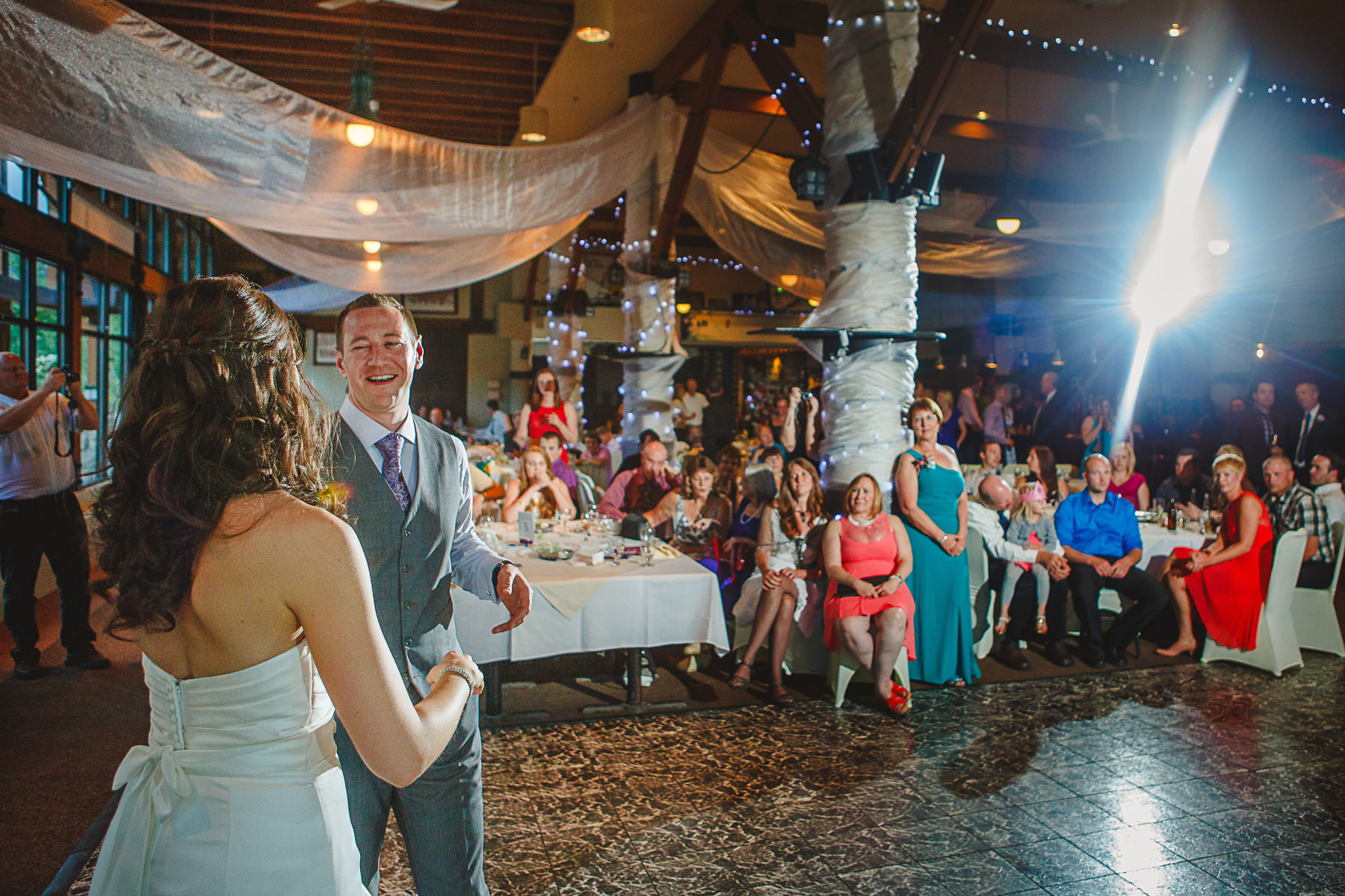 Bride and groom during first dance at Panorama Ski Hill