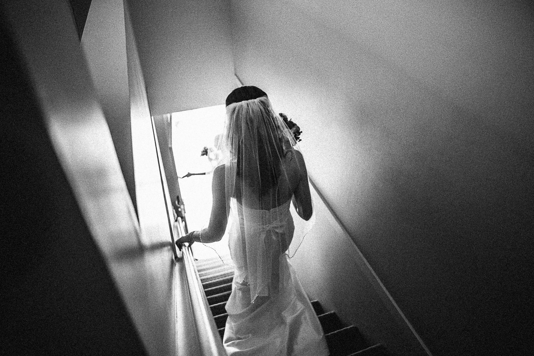 Bride leaving her suite to go to ceremony at Panorama Mountain Resort