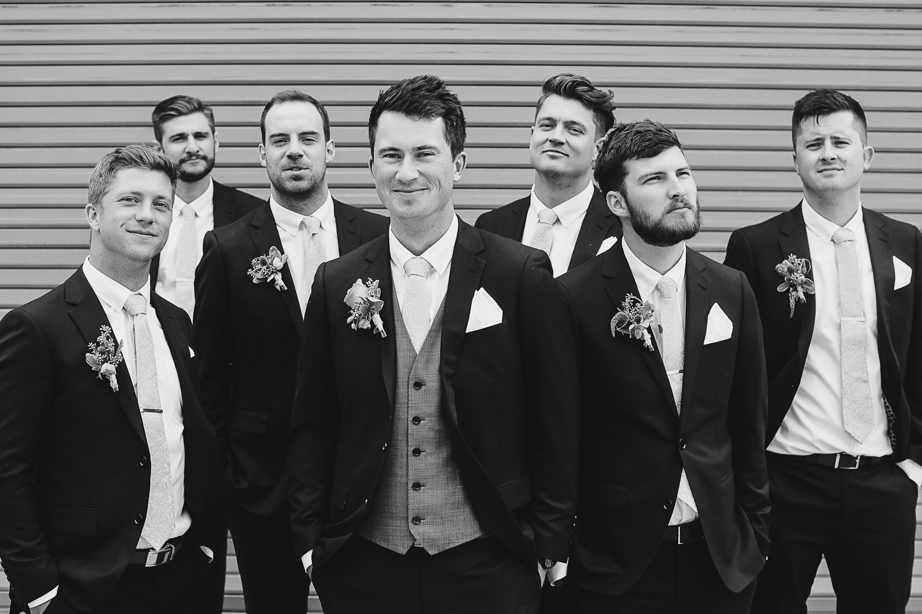 Groomsmen portrait at Panorama Ski Hill