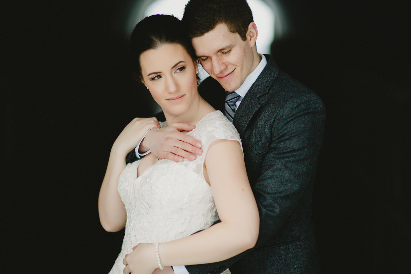 Portrait of bride and groom at Panorama Ski Hill