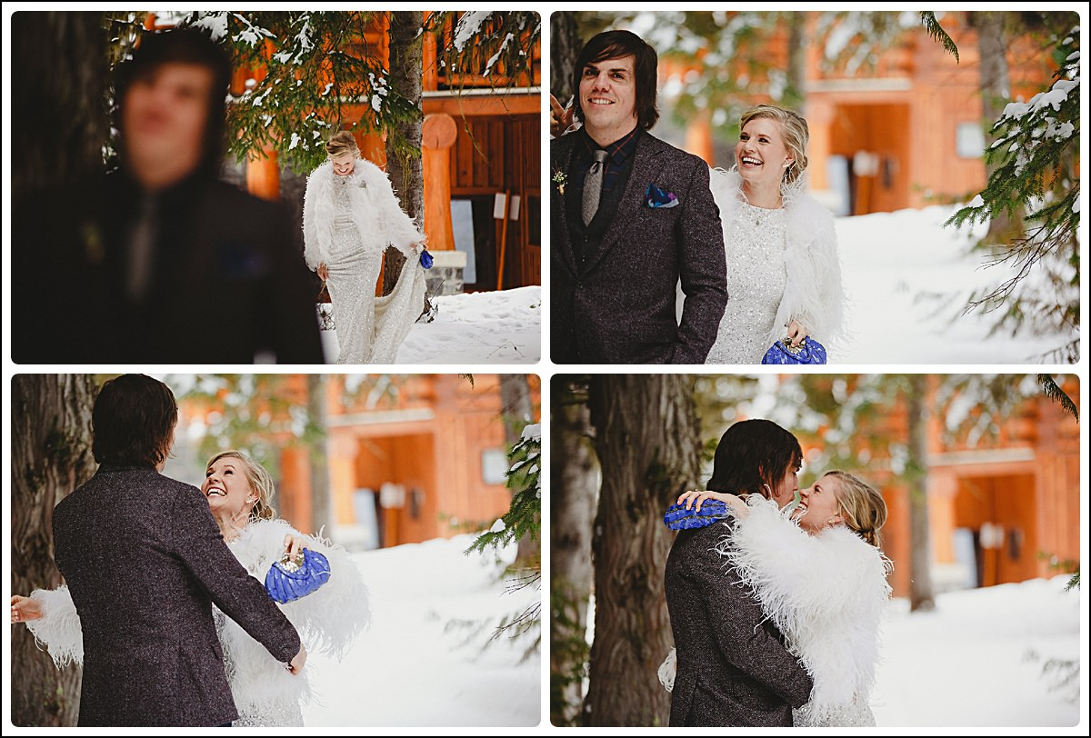 First look between bride and groom at winter wedding at Island Lake Lodge,