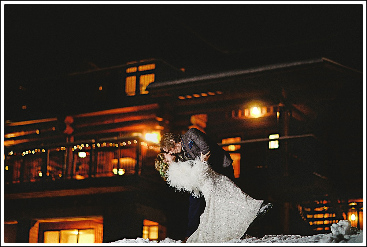 Night portraits outside the Bear Lodge at Island Lake Lodge,