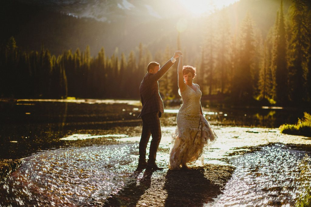 Wedding couple have private sunset dance at Island Lake Lodge