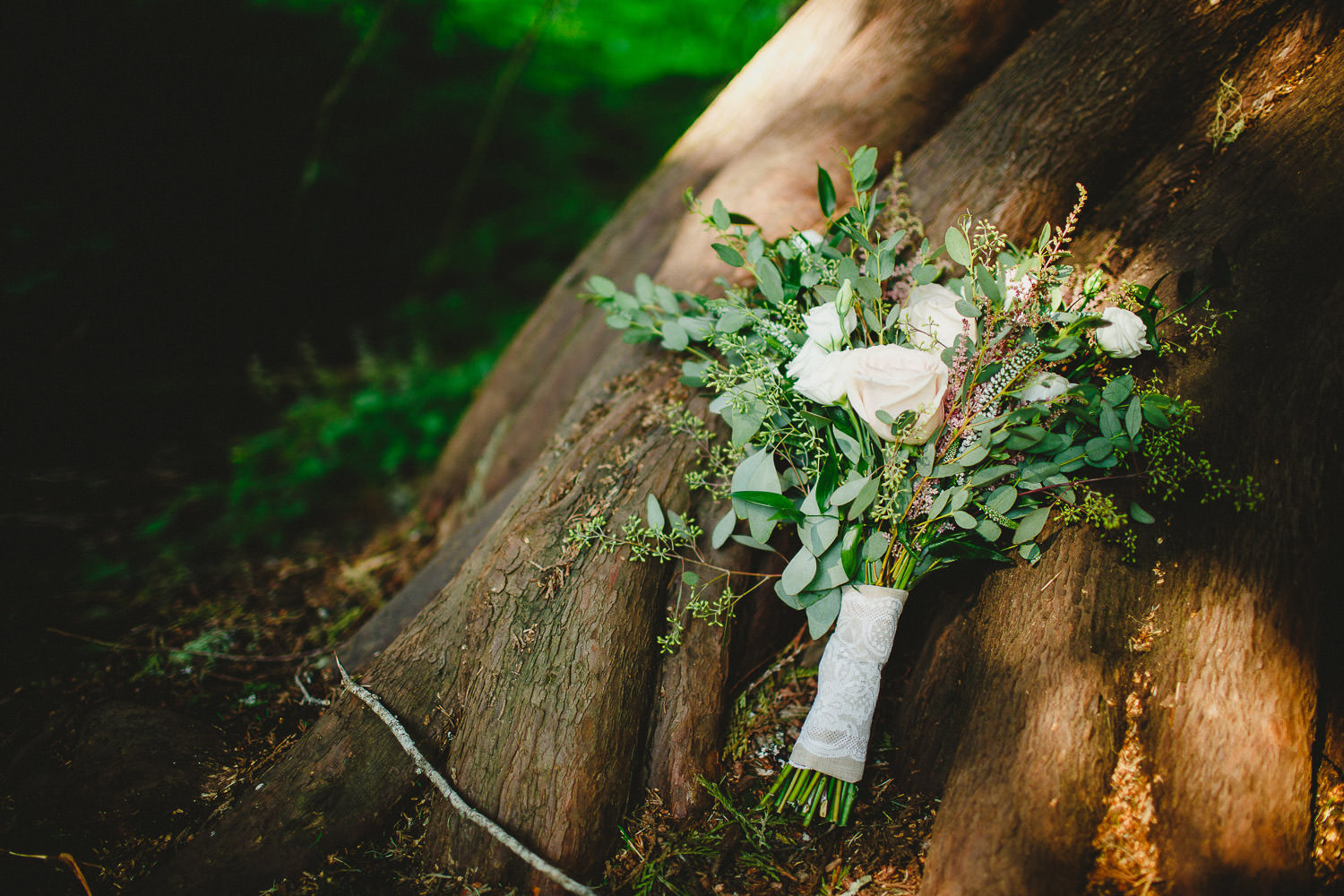 Bridal bouquet on tree stump