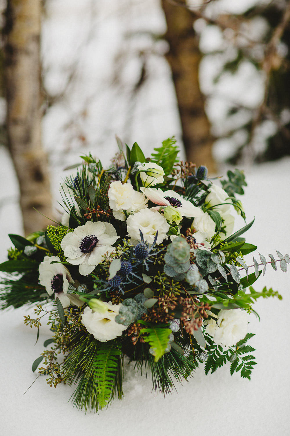 Floral arrangement in snow